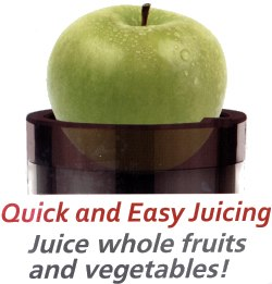 "Juicer easily crushes 3"" (or less) diameter fruits and easily turns them into juice"