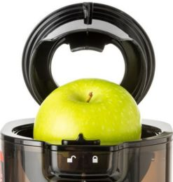 "Juicer easily crushes 3.2"" (or less) diameter fruits and easily turns them into juice"