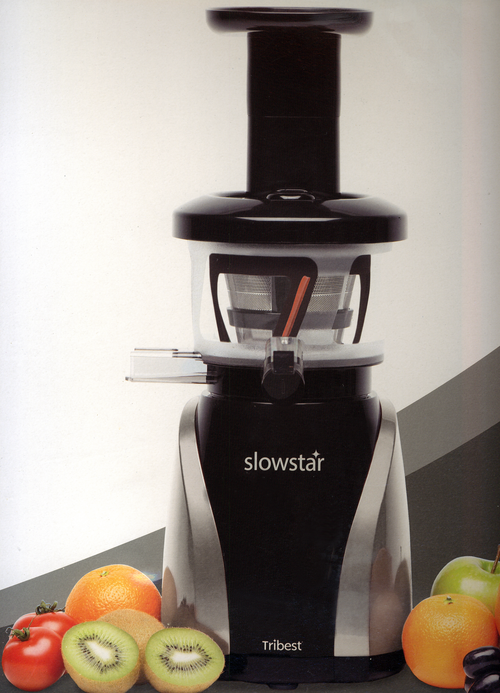 Tribest Slowstar Vertical Slow Juicer And Homogenizer : Tribest Slowstar SW-2020 Silver and Black 47 RPM vertical Upright Single Auger Juicer