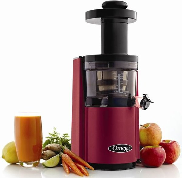 Slow Juicer Vs High Speed : Omega vERT vSJ843 Round vertical vSJ843 red juicer- Latest vertical Slow Juicer from Omega.